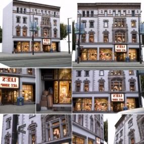 欧式古典建筑街道楼房外观3D模型【ID:127777450】
