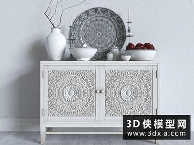 现代雕花装饰柜国外3D模型【ID:829470075】