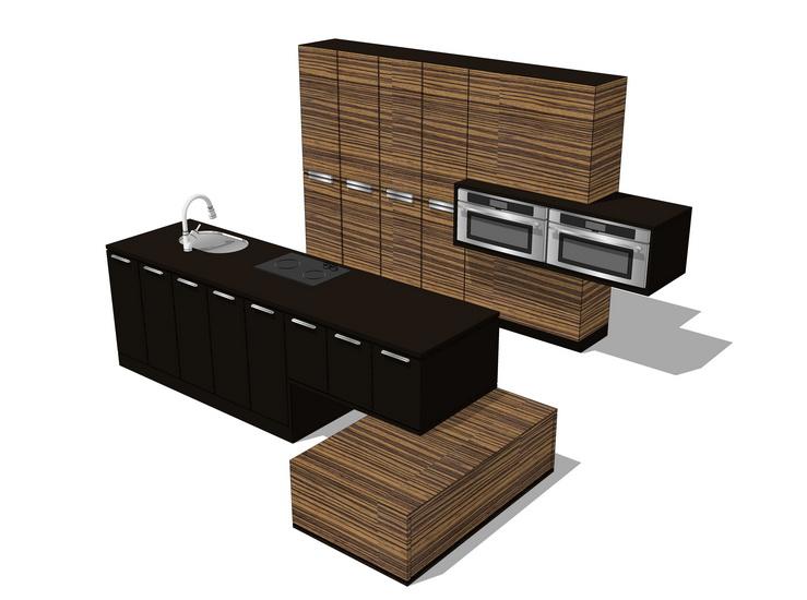 厨房橱柜组合SU模型【ID:736341104】