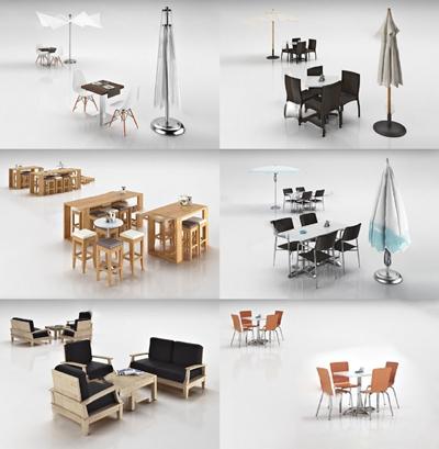 现代户外桌椅3D模型【ID:124889221】