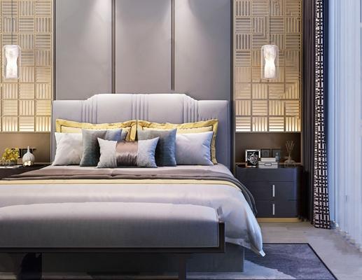 新中式双人床床头柜组合3d模型【ID:728319002】