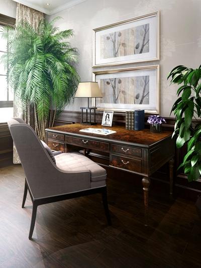 传统美式原木色长方形木艺书桌3D模型【ID:114892978】