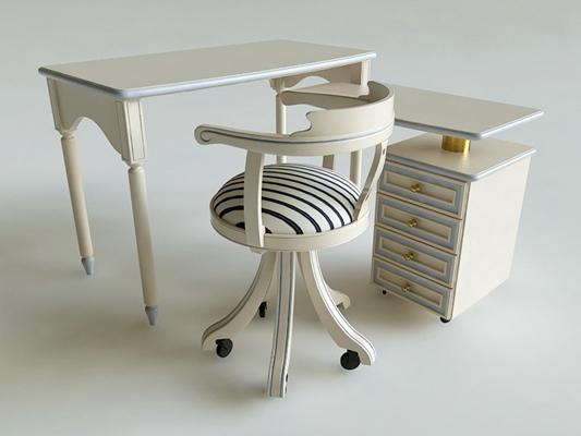 歐式簡約白色L型木藝書桌3D模型【ID:114892992】