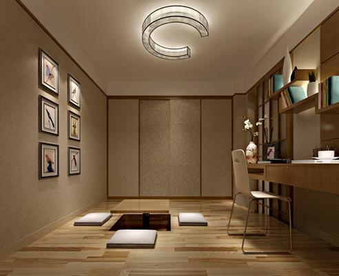 日式方型木藝板式茶幾組合3D模型【ID:114897510】
