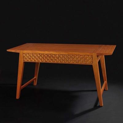 東南亞原木色長方形木藝書桌3D模型【ID:114933956】