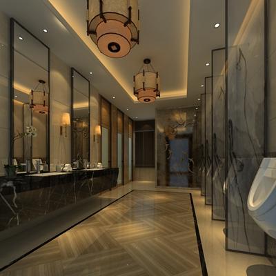 现代酒店卫生间3D模型【ID:114959012】