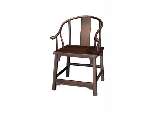 传统中式原木色木艺圈椅3D模型【ID:114972541】