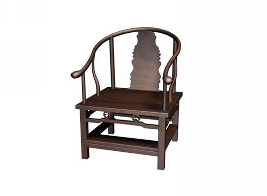 传统中式原木色木艺圈椅3D模型【ID:114975502】