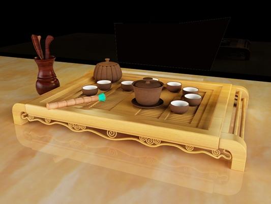 茶壶茶杯组合3D模型【ID:114982033】