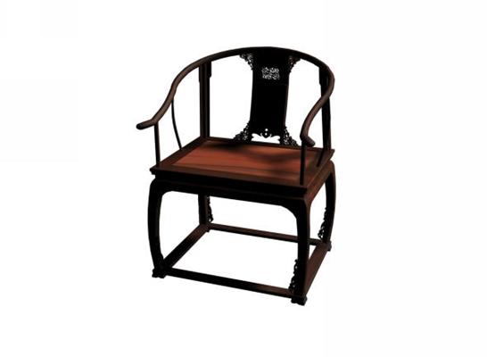 传统中式原木色木艺圈椅3D模型【ID:114990513】