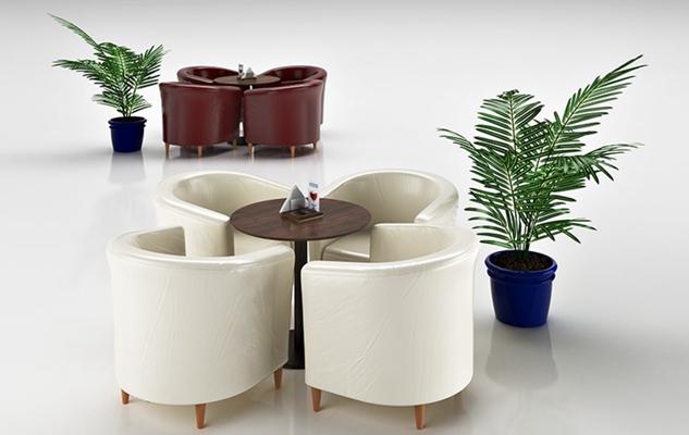 现代白色皮质卡座沙发3D模型【ID:115003174】