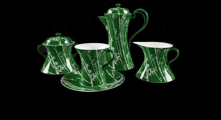 绿色茶壶茶杯组合3D模型【ID:115005064】