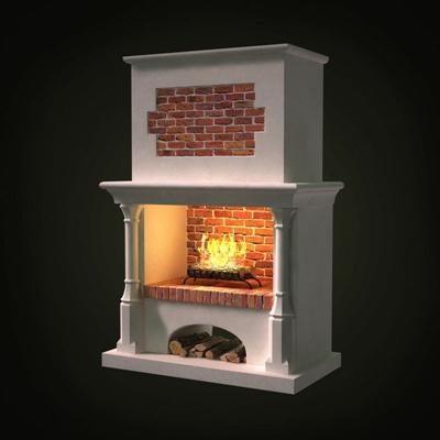 白色传统壁炉3D模型【ID:115036438】