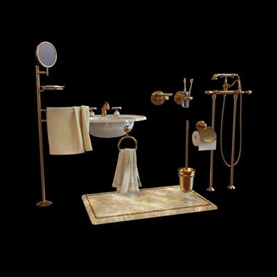 金色卫浴小件组合
