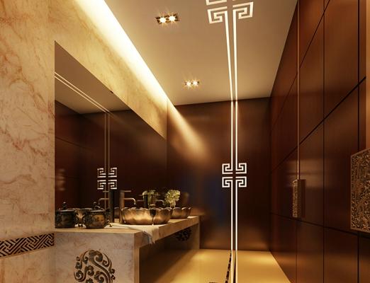 新中式酒店卫生间3D模型【ID:115070068】