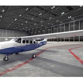 蓝色小型飞机3D模型【ID:115245555】