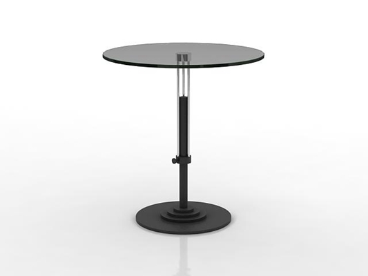 现代黑色圆形玻璃休闲桌3D模型【ID:115341215】