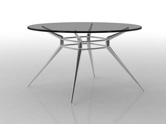 现代圆形玻璃休闲桌3D模型【ID:115341226】