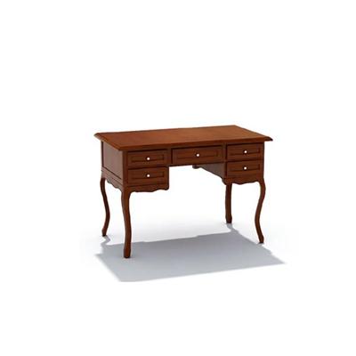 歐式簡約棕色木藝書桌3D模型【ID:115407919】