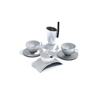 白色茶壶茶杯组合3D模型【ID:115419058】