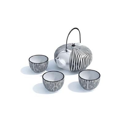 条纹茶壶茶杯组合3D模型【ID:115419067】