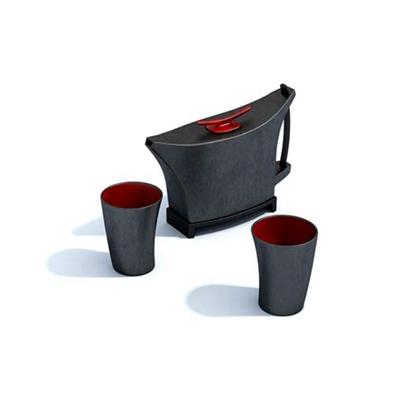 黑色茶壶茶杯组合3D模型【ID:115419091】
