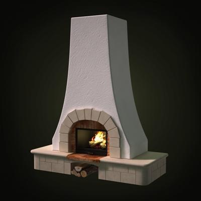 白色传统壁炉3D模型【ID:115425494】