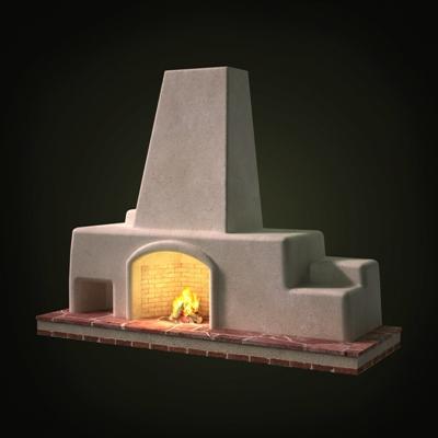 白色传统壁炉3D模型【ID:115426413】