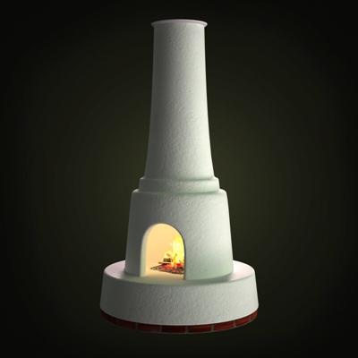 白色传统壁炉3D模型【ID:115426414】