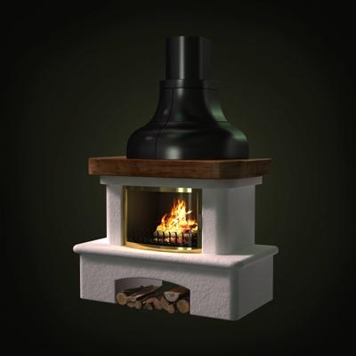 白色传统壁炉3D模型【ID:115426444】