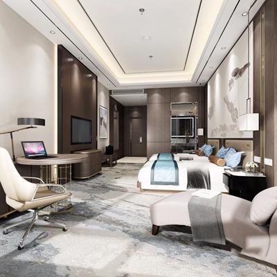 新中式酒店套房3D模型【ID:428263690】