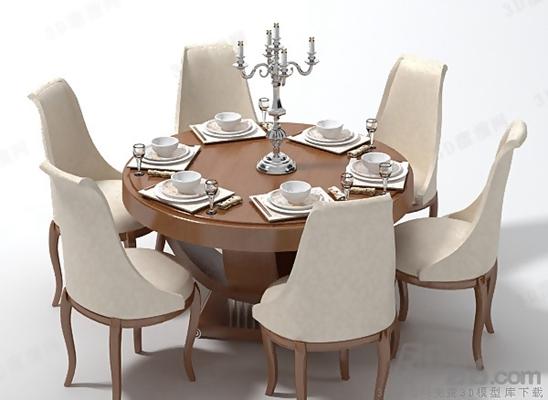 餐桌椅组合83D模型【ID:117284947】