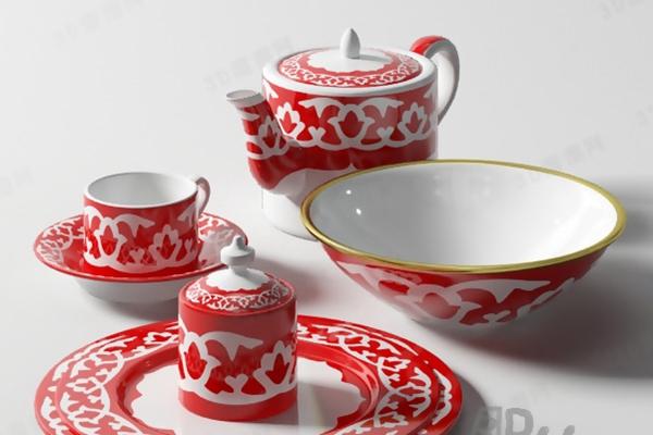 茶壶茶杯组合13D模型【ID:117344019】