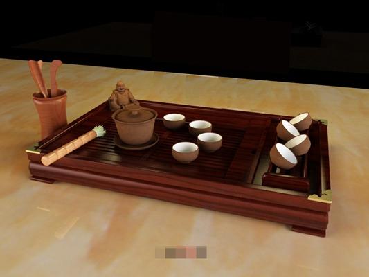 棕色茶壶茶杯组合3D模型【ID:117469024】