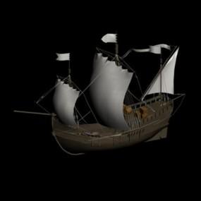 原木色古代船3D模型【ID:117529252】