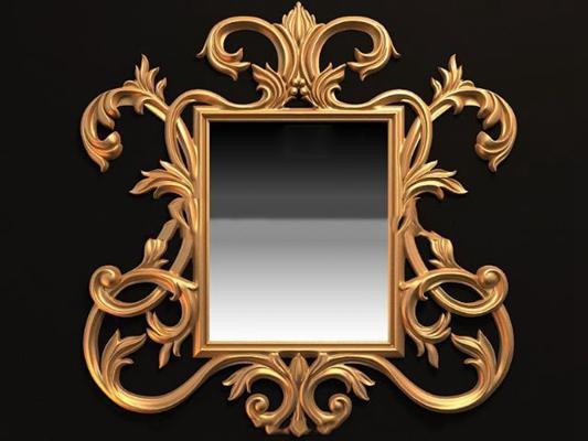 金色玻璃镜子墙饰3D模型【ID:117539965】