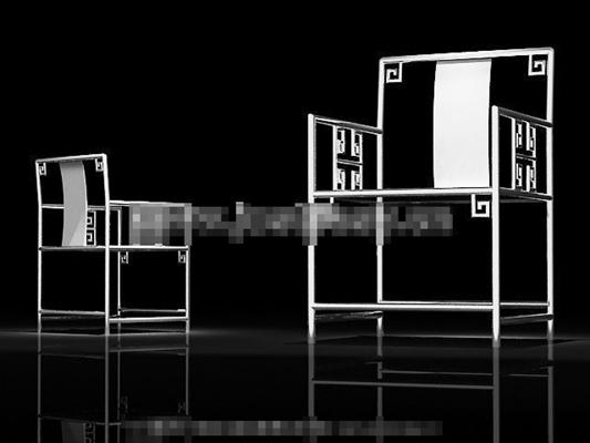 新中式银色铁艺圈椅3D模型【ID:117543555】