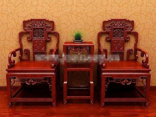 传统中式原木色木艺圈椅3D模型【ID:117546574】
