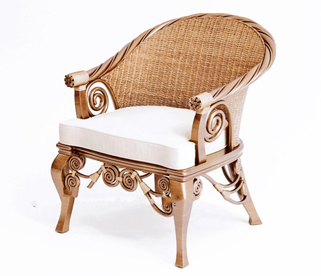 美式简约棕色木艺圈椅3D模型【ID:117558525】