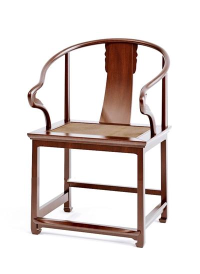 新中式棕色木艺圈椅3D模型【ID:117558549】