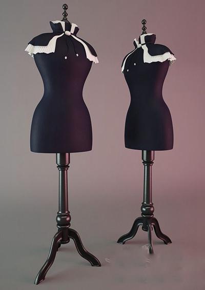 黑色木艺模特3D模型【ID:117560885】