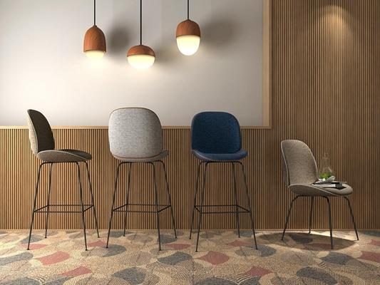 北欧吧椅3D模型【ID:327900193】