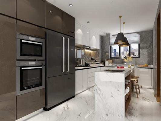 现代厨房3D模型【ID:124890430】