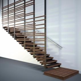 现代实木楼梯3D模型【ID:828473542】