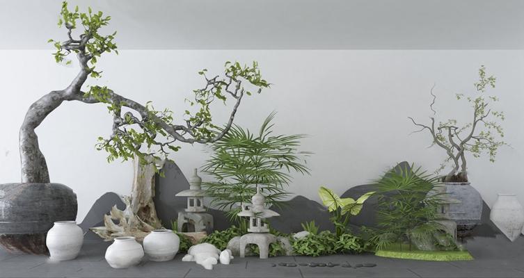 中式园艺小品3D模型【ID:124890839】