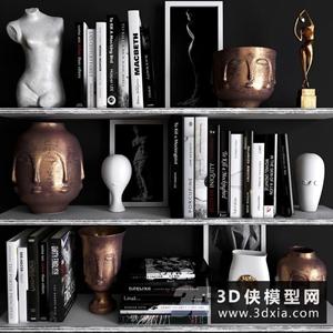 现代装饰品组合国外3D模型【ID:929320885】