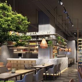 现代LOFT餐厅3D模型【ID:528018542】
