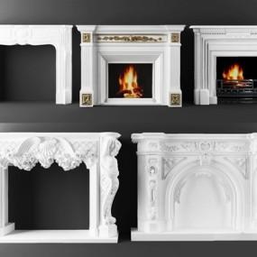 欧式石膏壁炉组合3D模型【ID:128137480】