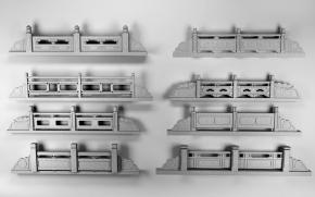 新中式户外石柱栏杆3D模型【ID:827814506】