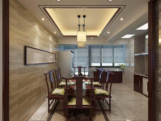 中式餐厅3D模型【ID:819616539】